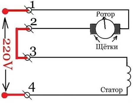 Схема подключения статора к щеткам